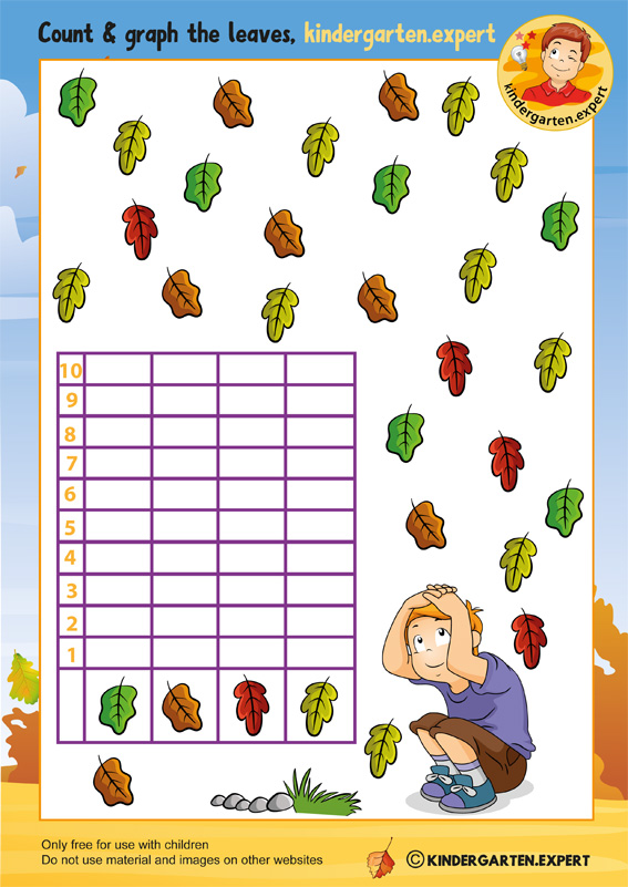 Count and graph the leaves, math, kindergarten expert, free printable