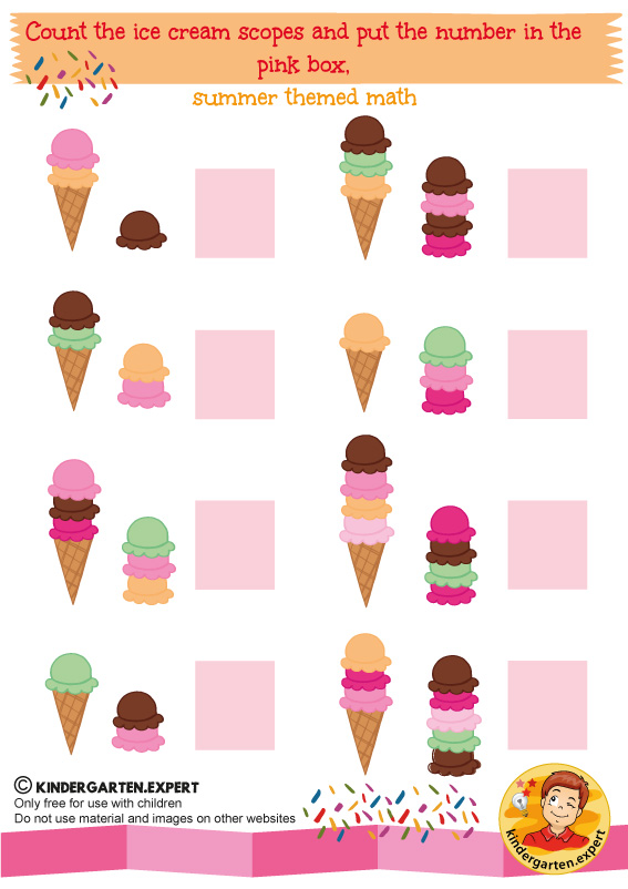 Count the ice cream scopes, summer themed math, kindergarten expert, free printable