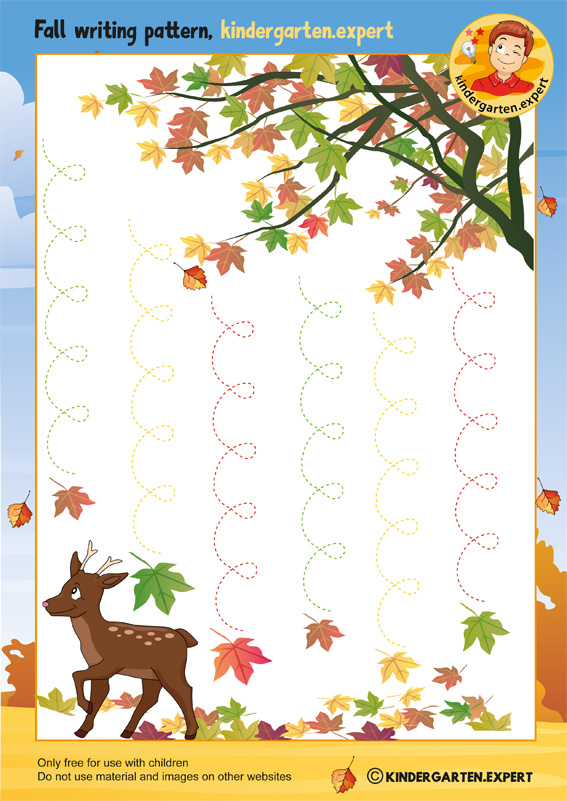 Fall writing pattern leaves, kindergarten expert, free printable