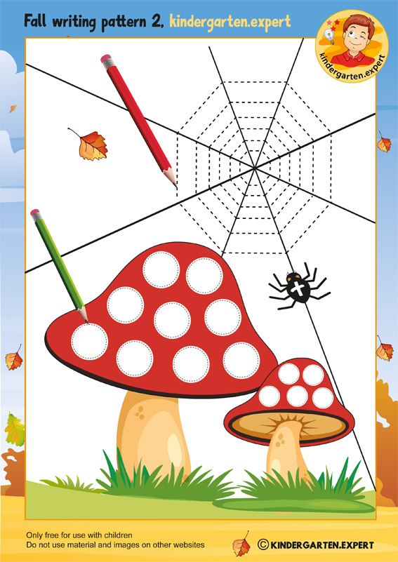 Fall writing pattern mushroom 2, kindergarten expert, free printable
