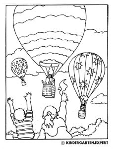 Hot air balloons, summer coloring page, kindergarten expert, free printable.