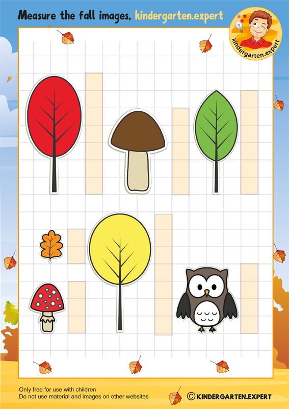 Measure the fall images, math, kindergarten expert, free printable
