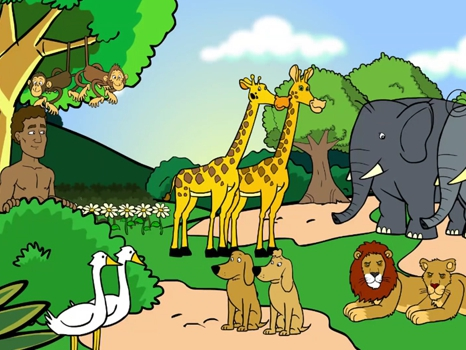 The garden of Eden, a name for animals, Eve, 22 Bible images, kindergarten expert , kids