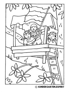 Treehouse, summer coloring page, kindergarten expert, free printable.