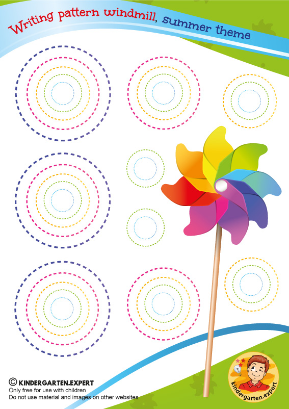 Writing pattern windmill, kindergarten expert, kindergarten summer theme, free printable