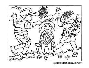 Children play badminton, summer coloring page, kindergarten expert, free printable.