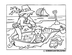 Children play on the beach, summer coloring page, kindergarten expert, free printable.