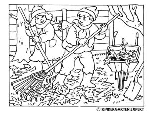 Children rake leaves together, fall coloring page, kindergarten.expert, free printable.