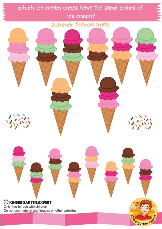 ice cream cones math, kindergarten expert, summer theme, free printable