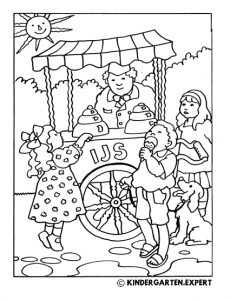 Ice cream, summer coloring page, kindergarten expert, free printable.