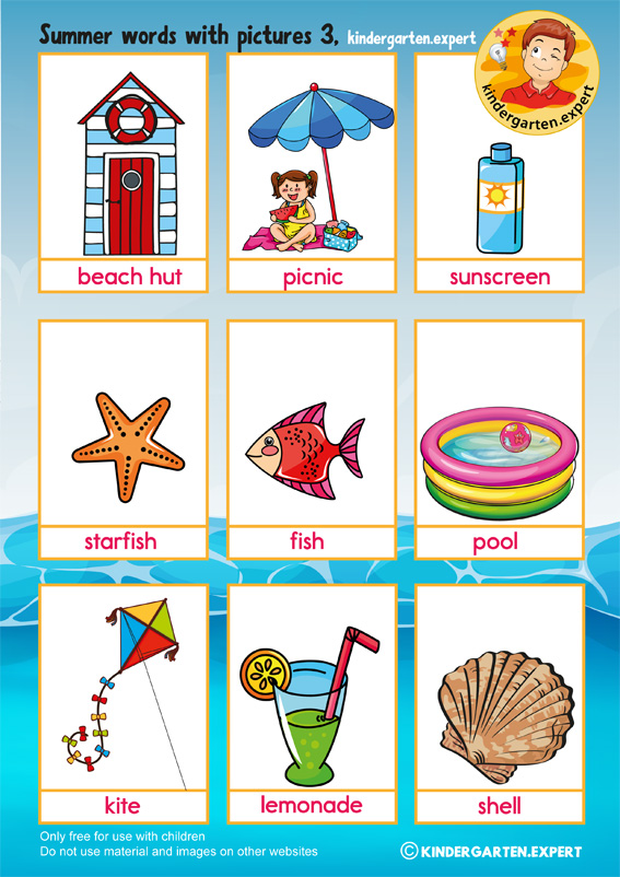 summer words with pictures 3, kindergarten expert, summer theme