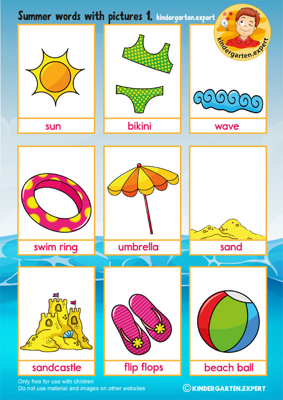 summer words with pictures, kindergarten expert, summer theme