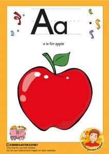 A is for apple, kindergarten expert, free printable