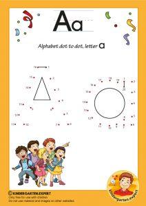 Alphabet dot to dot letter a, kindergarten expert, free printable