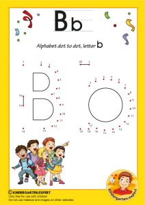 Alphabet dot to dot letter b, kindergarten.expert, free prinatble