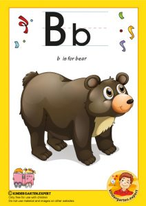 B is for bear, kindergarten expert, free printable