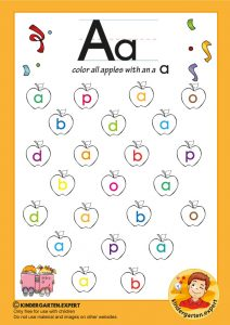 Color all apples with an a, kindergarten expert, free printable