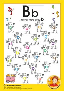 Color all bears with a b, kindergarten expert, free.printable