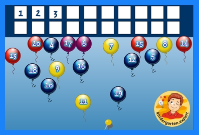 Count the balloons by popping them in order from 1 to 20, kindergarten online game, kindergarten.expert