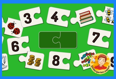 Count the objects 1 to 10 and puzzle, kindergarten online game, IWB, kindergarten.expert