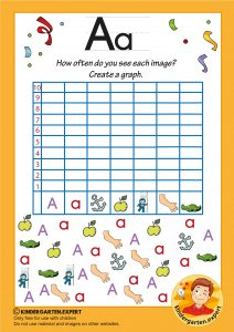 Create a graph, letter a for kids, kindergarten expert, free printable