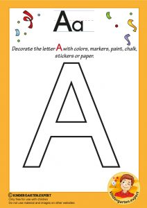 Decorate the capital letter a with colors, markers, paint, chalk,, kindergarten expert, free printable