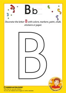 Decorate the capital letter b with colors, markers, paint, chalk,, kindergarten expert, free prinatble