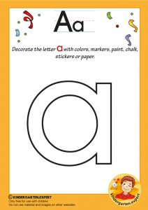 Decorate the letter a with colors, markers, paint, chalk,, kindergarten expert, free printable