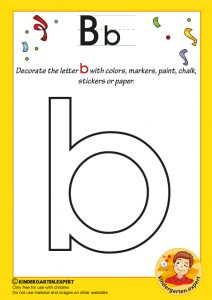 Decorate the letter b with colors, markers, paint, chalk,, kindergarten expert, free prinatble