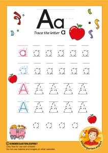 Trace the letter a for kindergarten, kindergarten expert, free printable