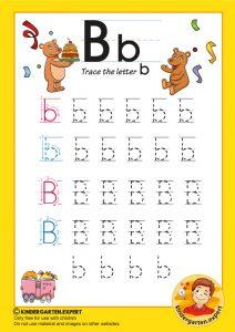 Trace the letter b for kindergarten, kindergarten expert, free prinatble