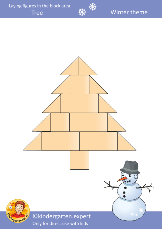 2d card block area tree 2, kindergarten expert, free printable