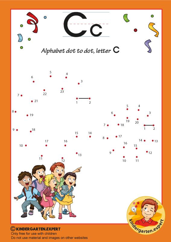 Alphabet dot to dot letter C, kindergarten expert, free printable