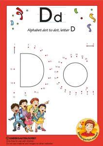 Alphabet dot to dot letter D, kindergarten expert, free printable