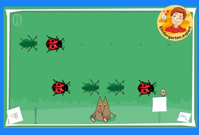 Bugs pattern game, kindergarten online game, IWB, kindergarten.expert