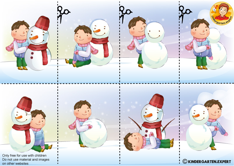 Building a Snowman, Sequence cards 2, kindergarten expert, free printable