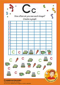 Create a graph, letter C for kids, kindergarten expert, free printable