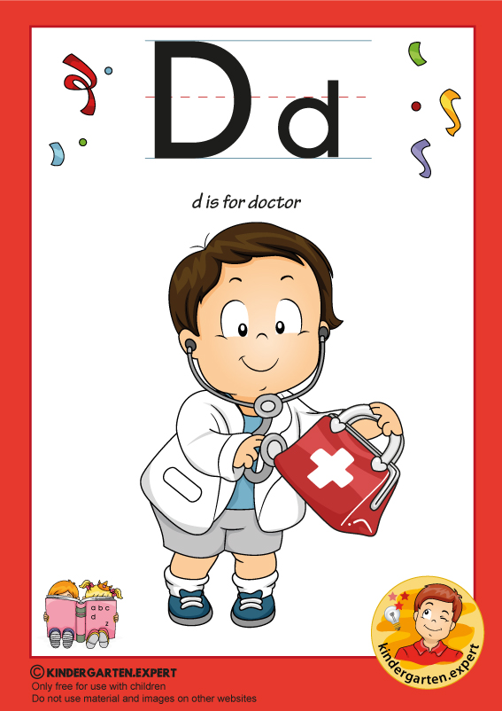 D is for doctor, kindergarten.expert, free printable