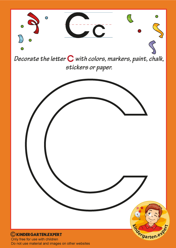 Decorate the capital letter c with colors, markers, paint, chalk,, kindergarten expert, free printable