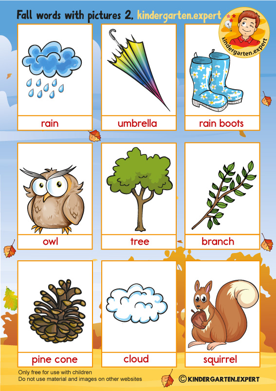 Fall words with pictures for kindergarten 2, kindergarten expert, free printable