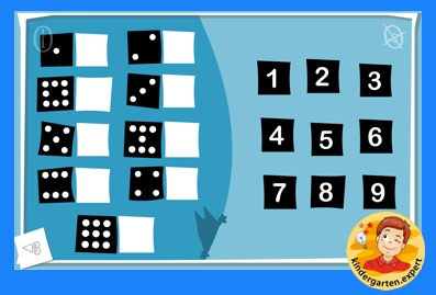 Find the numbers that match the dots, kindergarten online game, IWB, kindergarten.expert