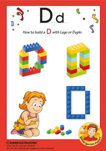 How to build a D with Lego or Duplo, kindergarten expert, free printable
