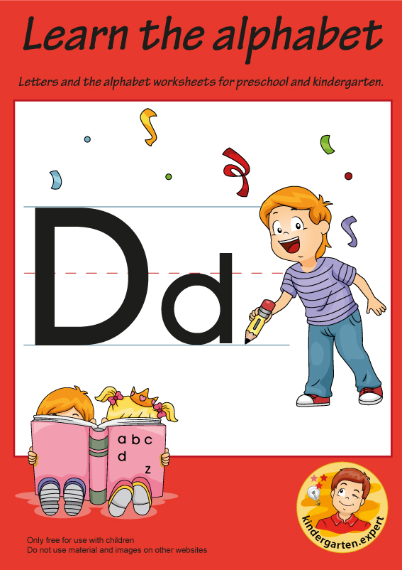 Letters & alphabet worksheets for preschool and kindergarten, letter D, kindergarten expert, free printable