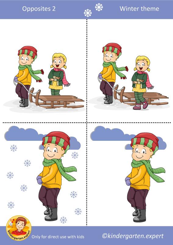Opposites 2, kindergarten expert, free printable
