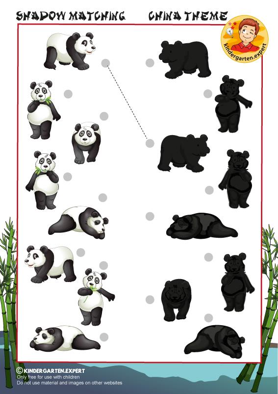 Shadow matching, kindergarten.expert, free printable