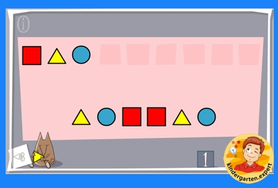 Shapes pattern game, kindergarten online game, IWB, kindergarten.expert