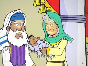 Simeon and Anna meet baby Jesus, 17 bible images for kids, kindergarten.expert