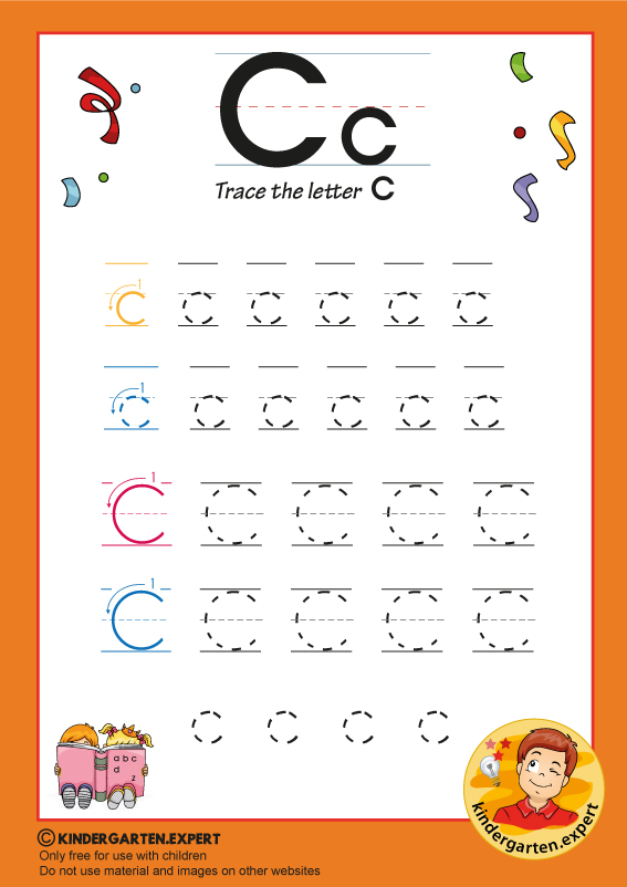 Trace the letter C for kindergarten, kindergarten expert, free printable
