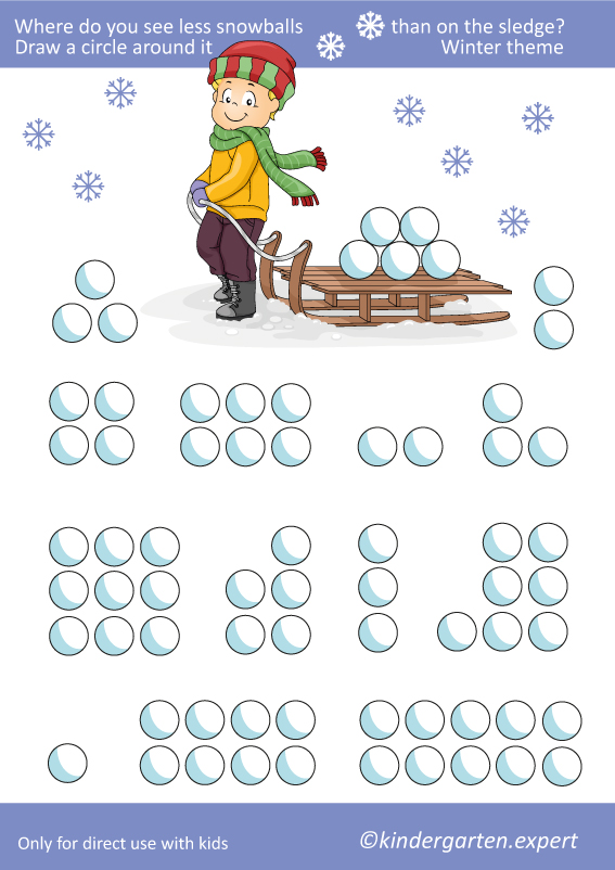 Where do you see less snowballs, kindergarten expert, free printable