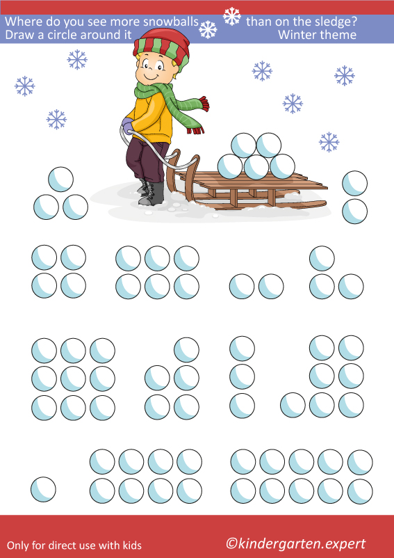 Where do you see more snowballs, kindergarten expert, free printable